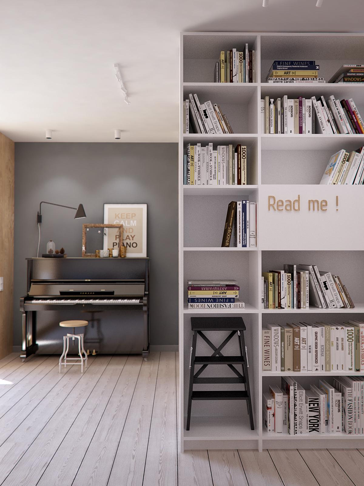 105㎡混搭风公寓书柜装修效果图