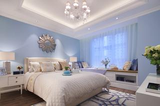 蓝色调美式风格卧室装修效果图