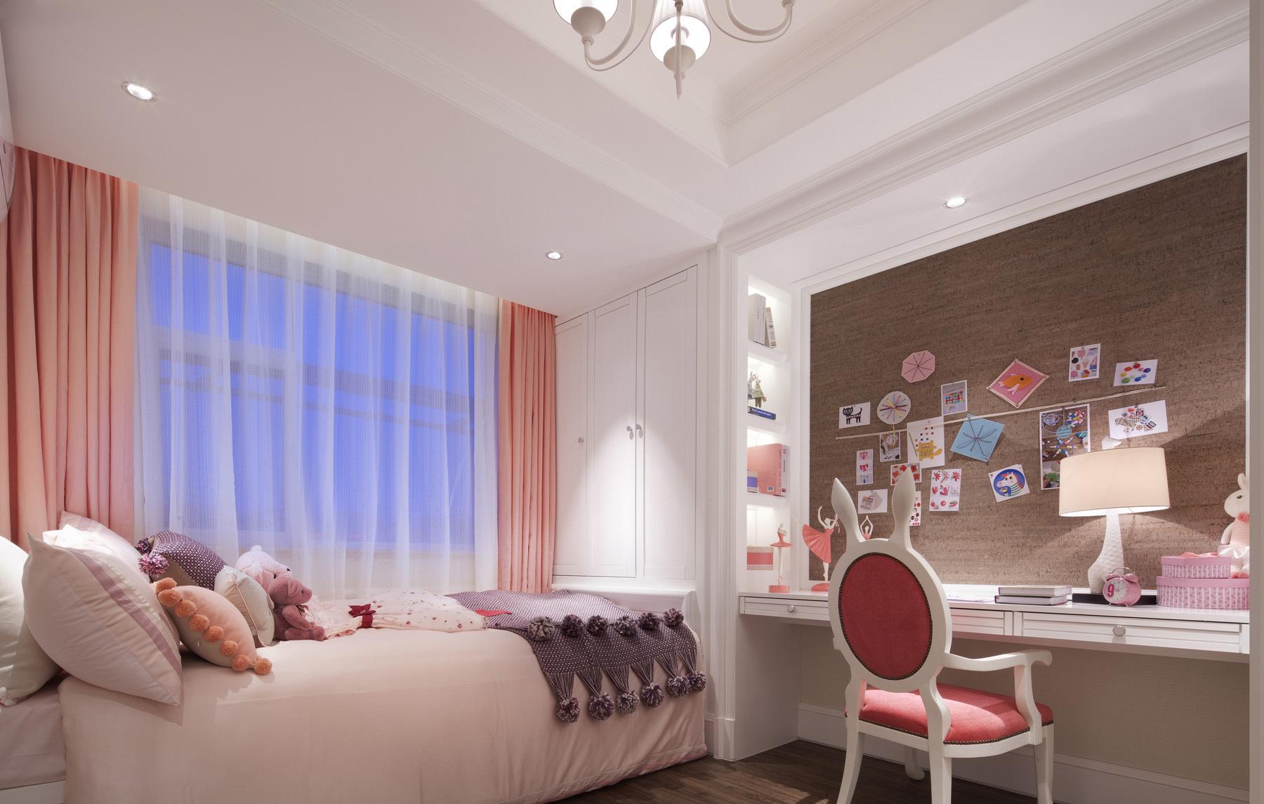 粉色调美式风格儿童房装修效果图