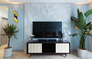 110㎡美式风格三居电视背景墙装修效果图