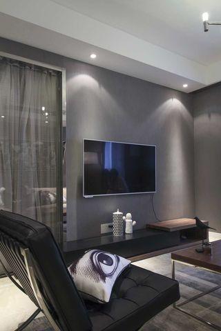 灰色调现代风二居电视背景墙装修效果图
