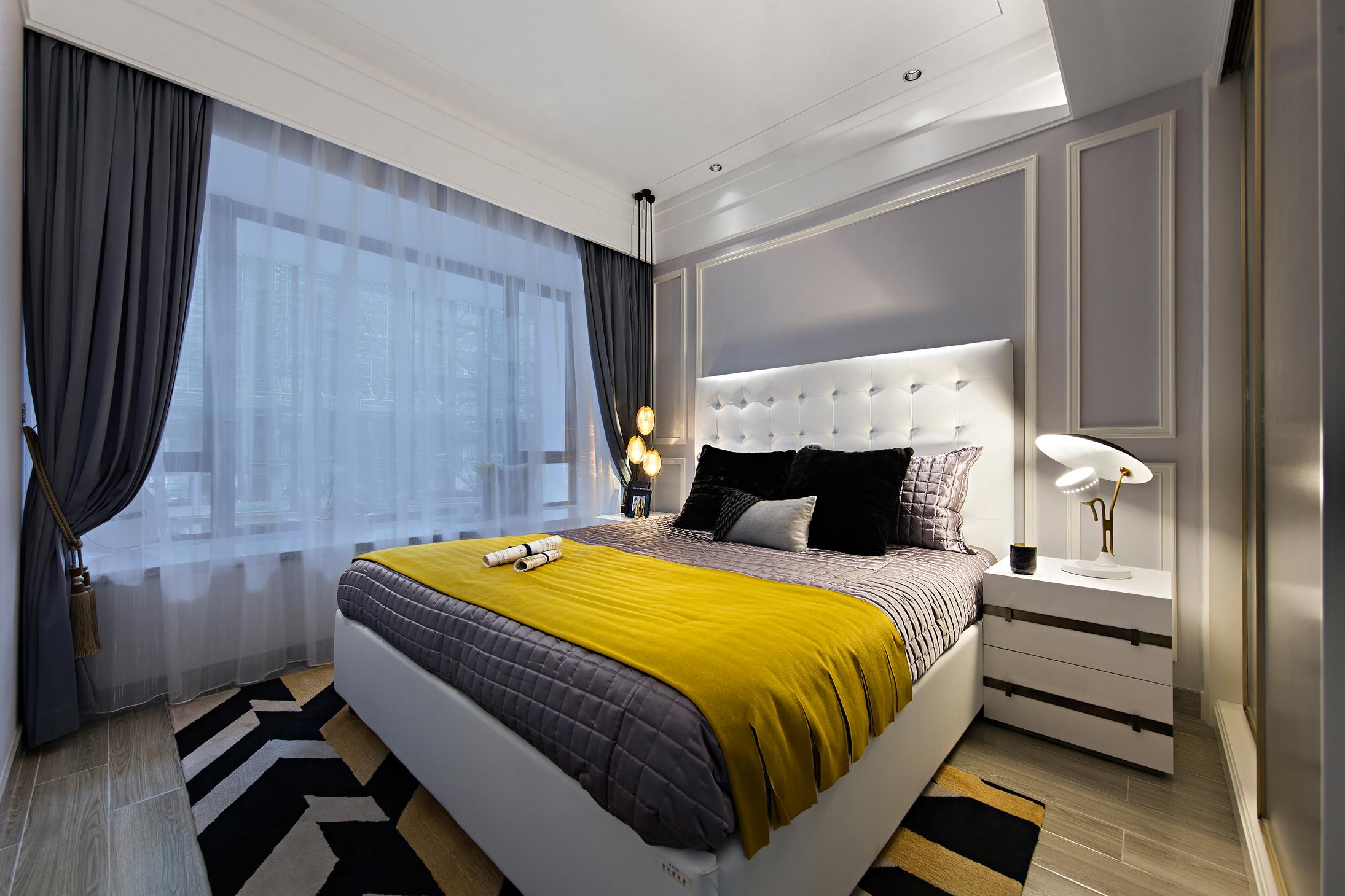 时尚摩登样板房卧室装修效果图