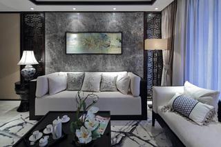 新中式风格样板房沙发背景墙装修效果图