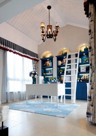 复式地中海风格书房装修效果图