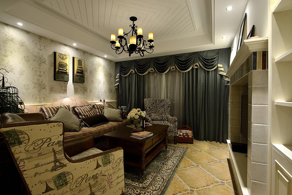 美式风格三居客厅装修效果图