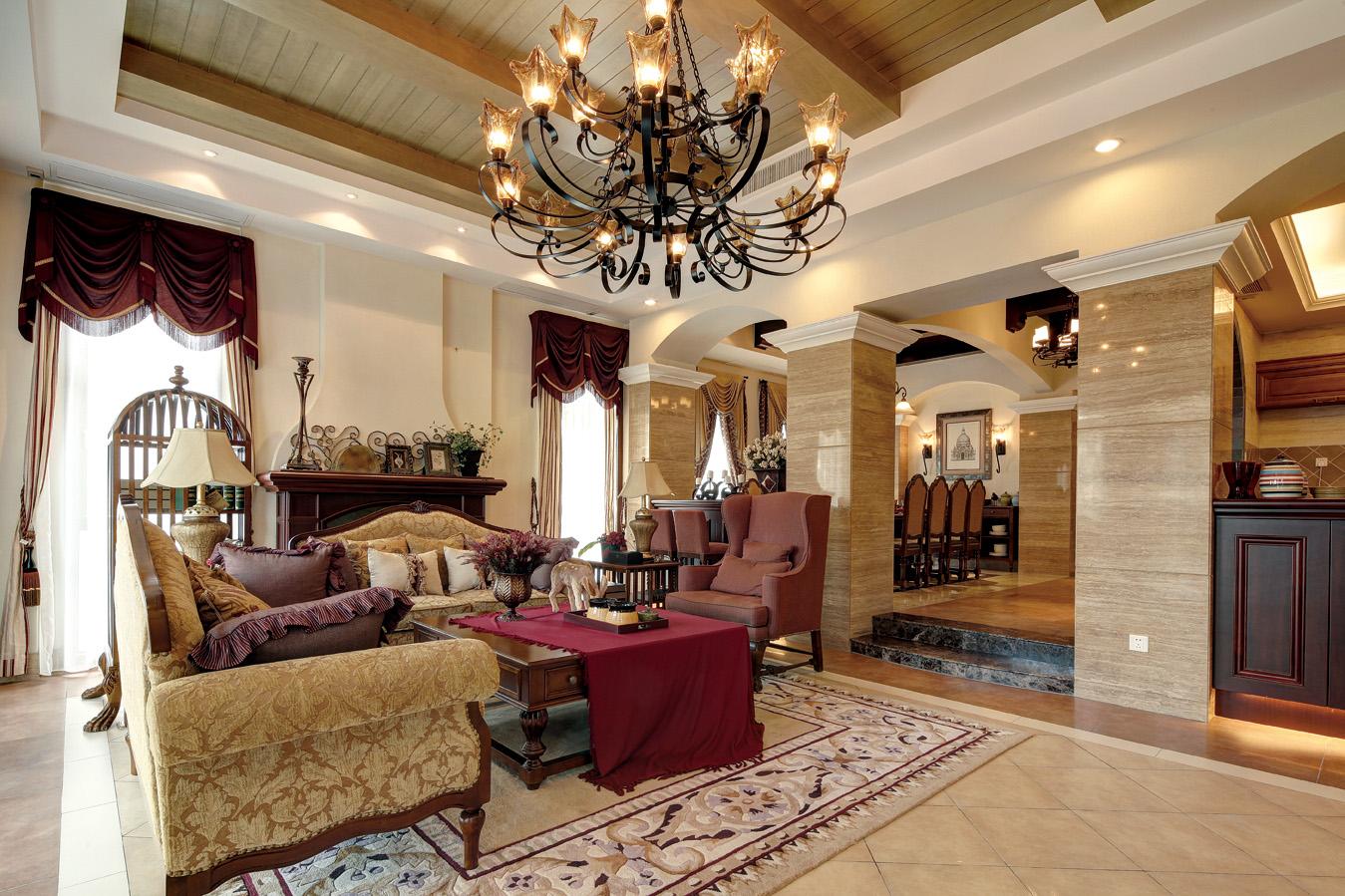 美式乡村风格别墅客厅装修效果图