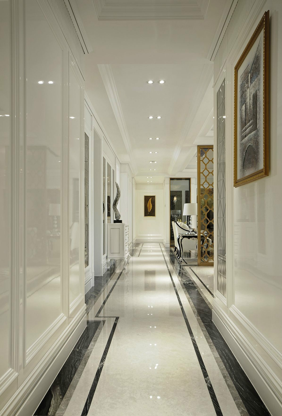 140平新古典风格走廊装修效果图
