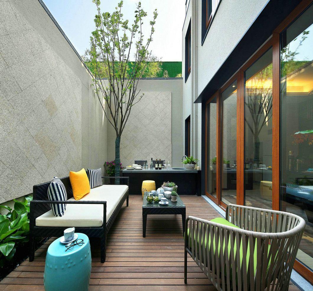 新中式风格别墅庭院装修效果图