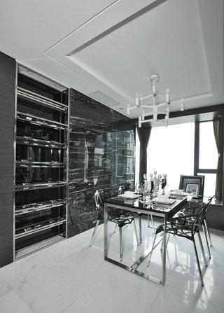 黑白现代简约餐厅装修效果图