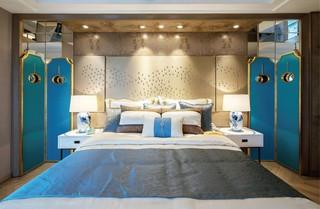 大户型新中式样板房卧室装修效果图