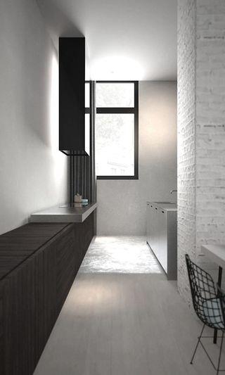 灰色极简风格厨房装修效果图