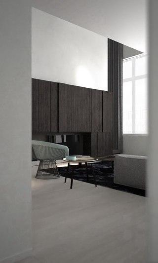 灰色极简风格客厅装修效果图