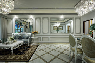 100㎡欧式风格沙发背景墙装修效果图