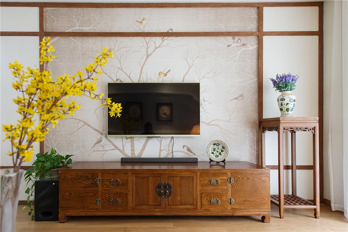 130平新中式电视背景墙装修效果图