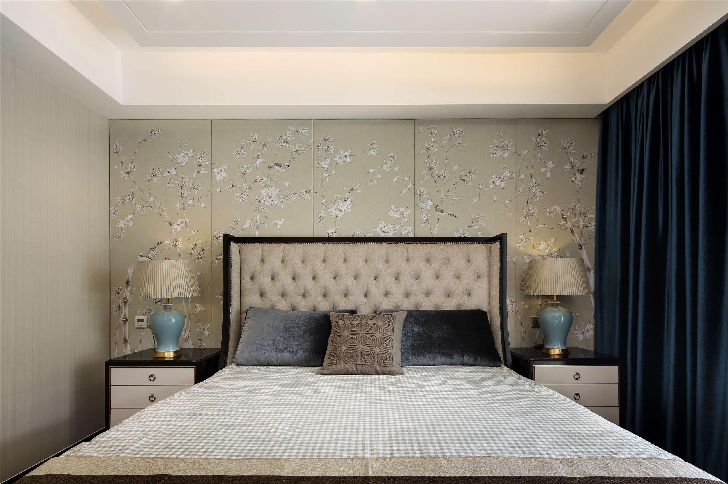 新中式风格别墅床头背景墙装修效果图