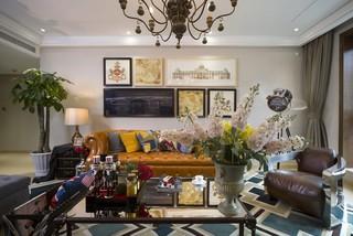 180平美式混搭风格沙发背景墙装修效果图
