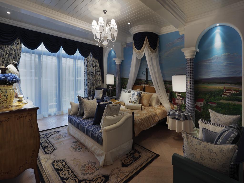 地中海风格别墅卧室装修效果图