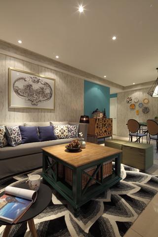 三居室混搭风格客厅装修效果图