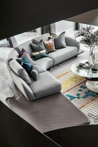 简约现代风别墅装修沙发布置图