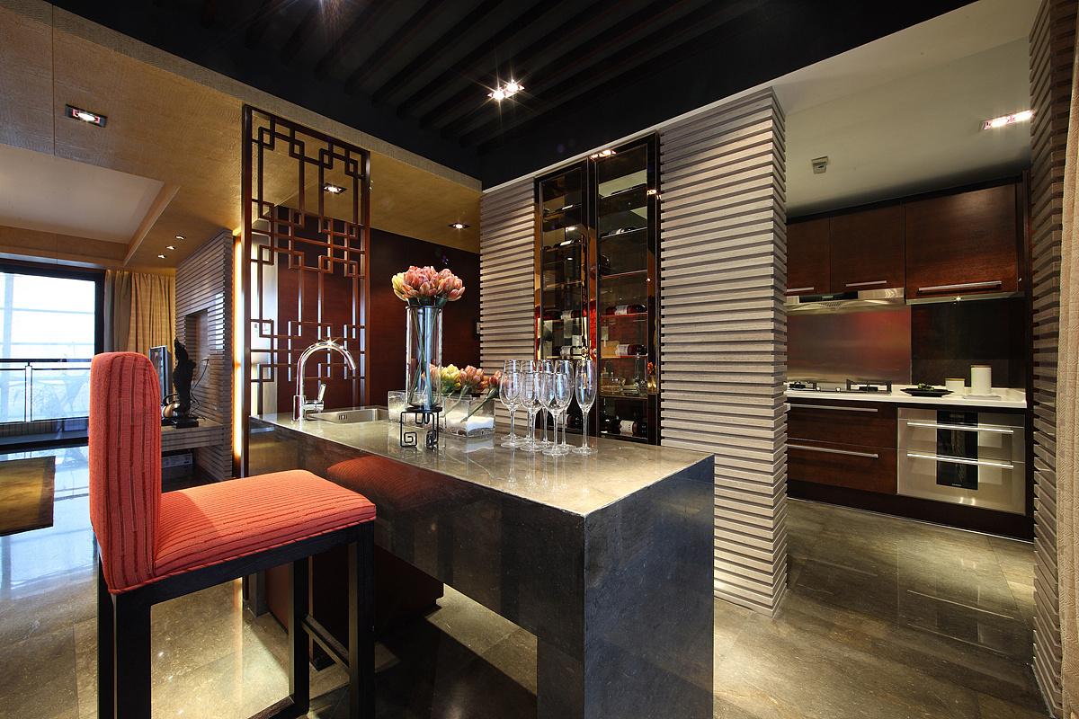 160平新中式四居吧台装修效果图