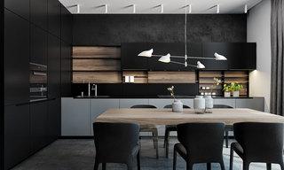 黑色系现代公寓厨房装修效果图