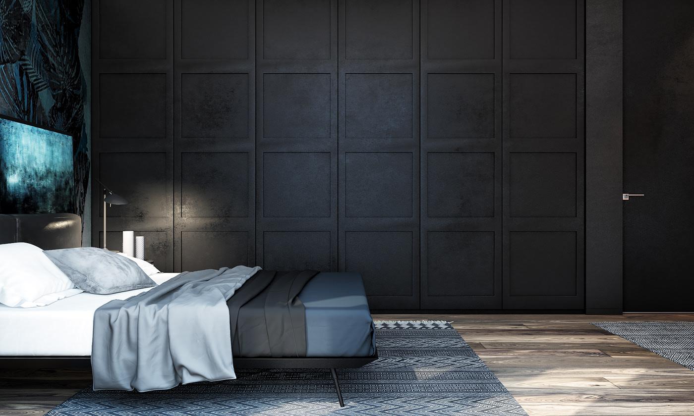 黑色系现代公寓卧室装修效果图