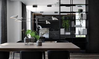 黑色系现代公寓餐厅装修效果图