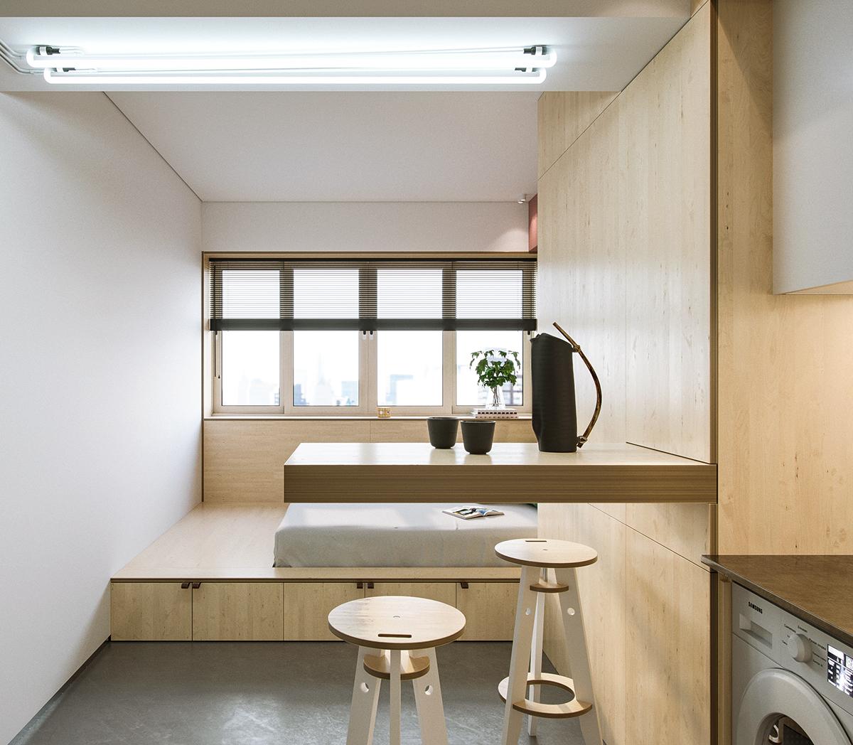 22㎡小户型公寓吧台装修效果图