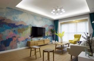 107㎡北欧风格电视背景墙装修效果图