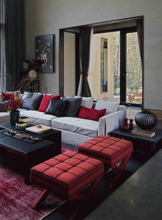 170㎡新中式风格装修沙发布置图