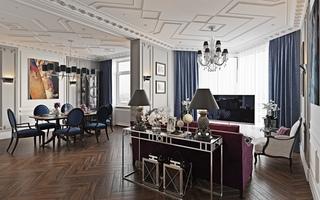 法式新古典风格客餐厅装修效果图
