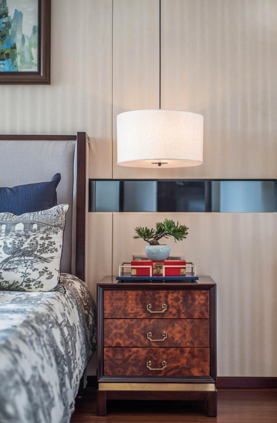 新中式风格别墅装修床头柜设计图