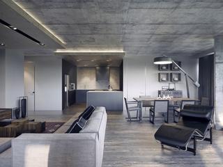 工业风格公寓厨餐厅装修效果图