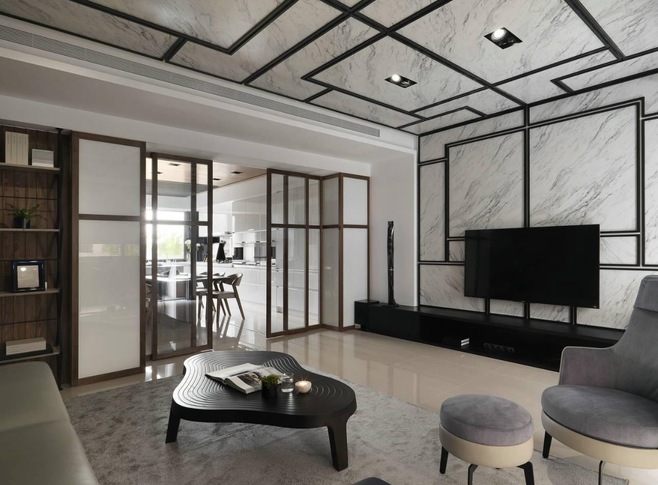 大户型现代风客厅电视墙装修效果图