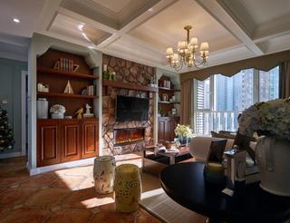 美式风格两居客厅电视墙装修效果图