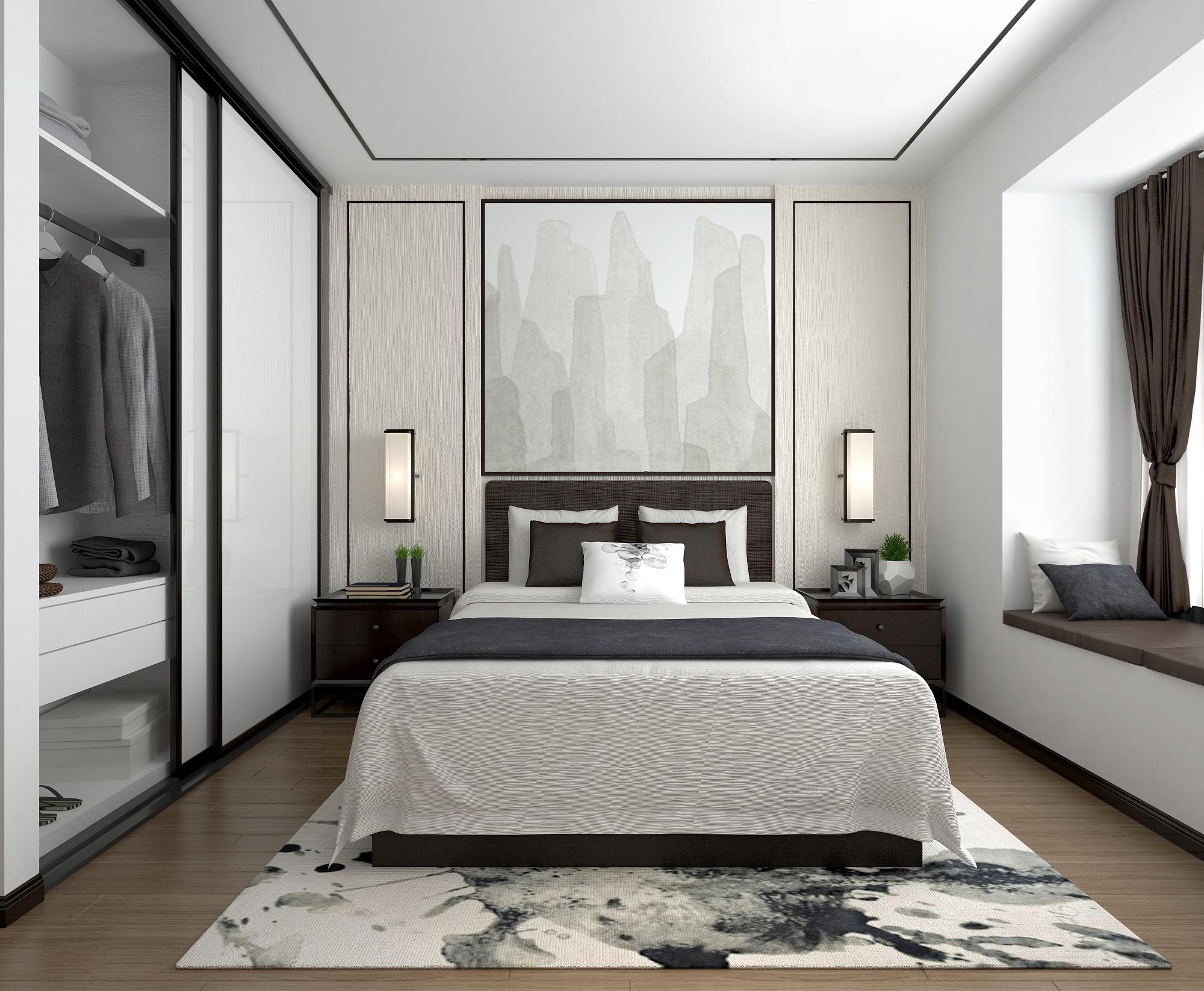 90平新中式卧室装修效果图