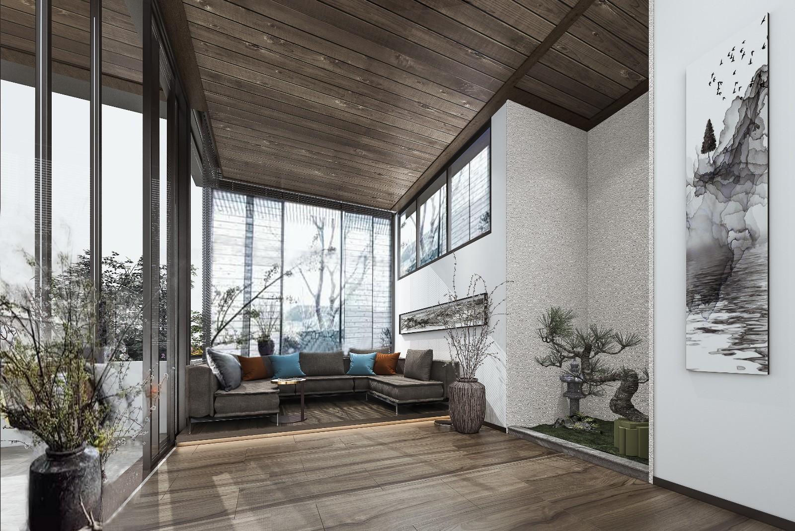 新中式风格别墅阳台装修效果图