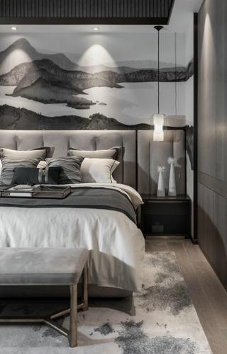新中式风别墅卧室装修效果图