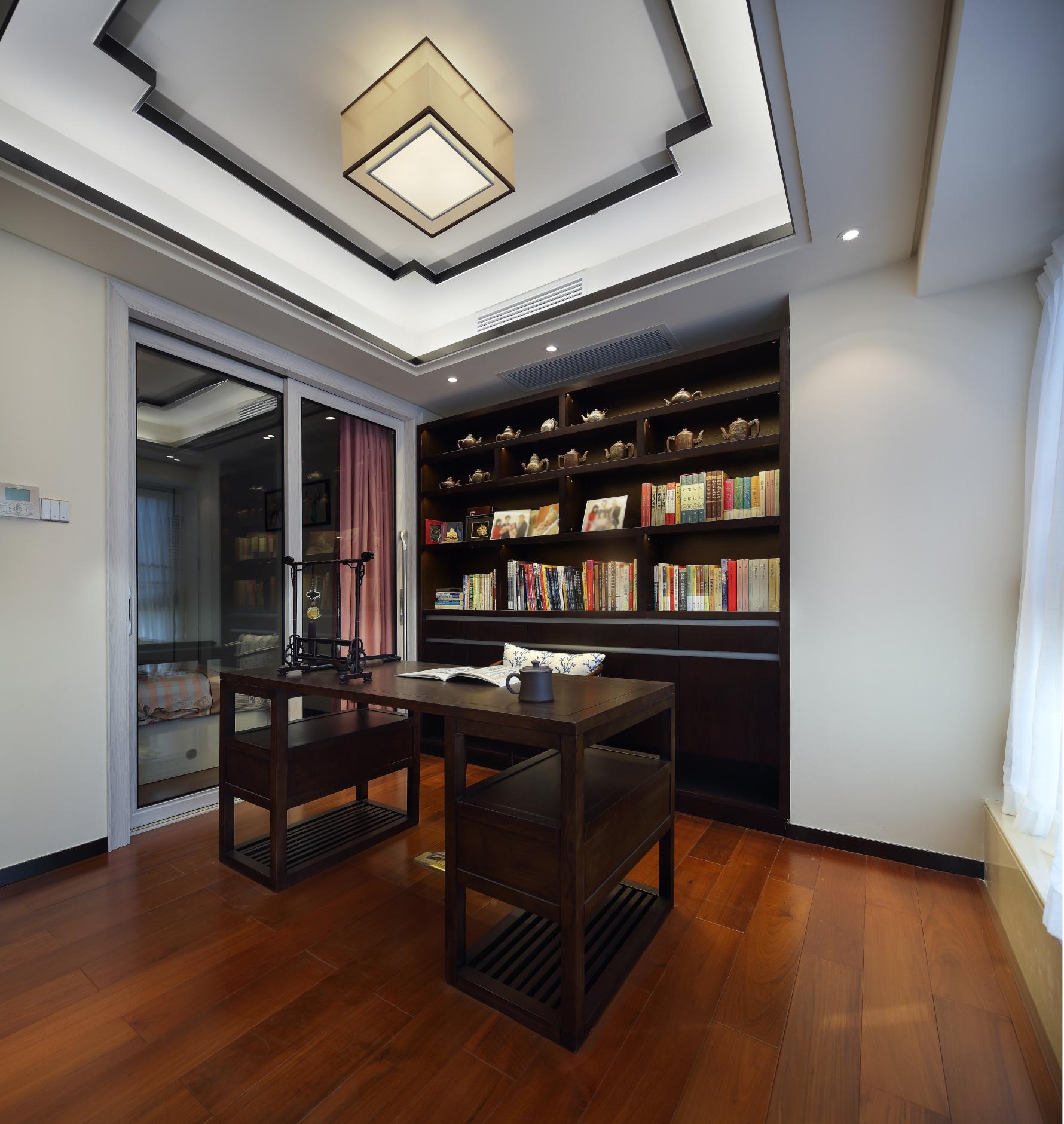 100m²中式风书房装修效果图
