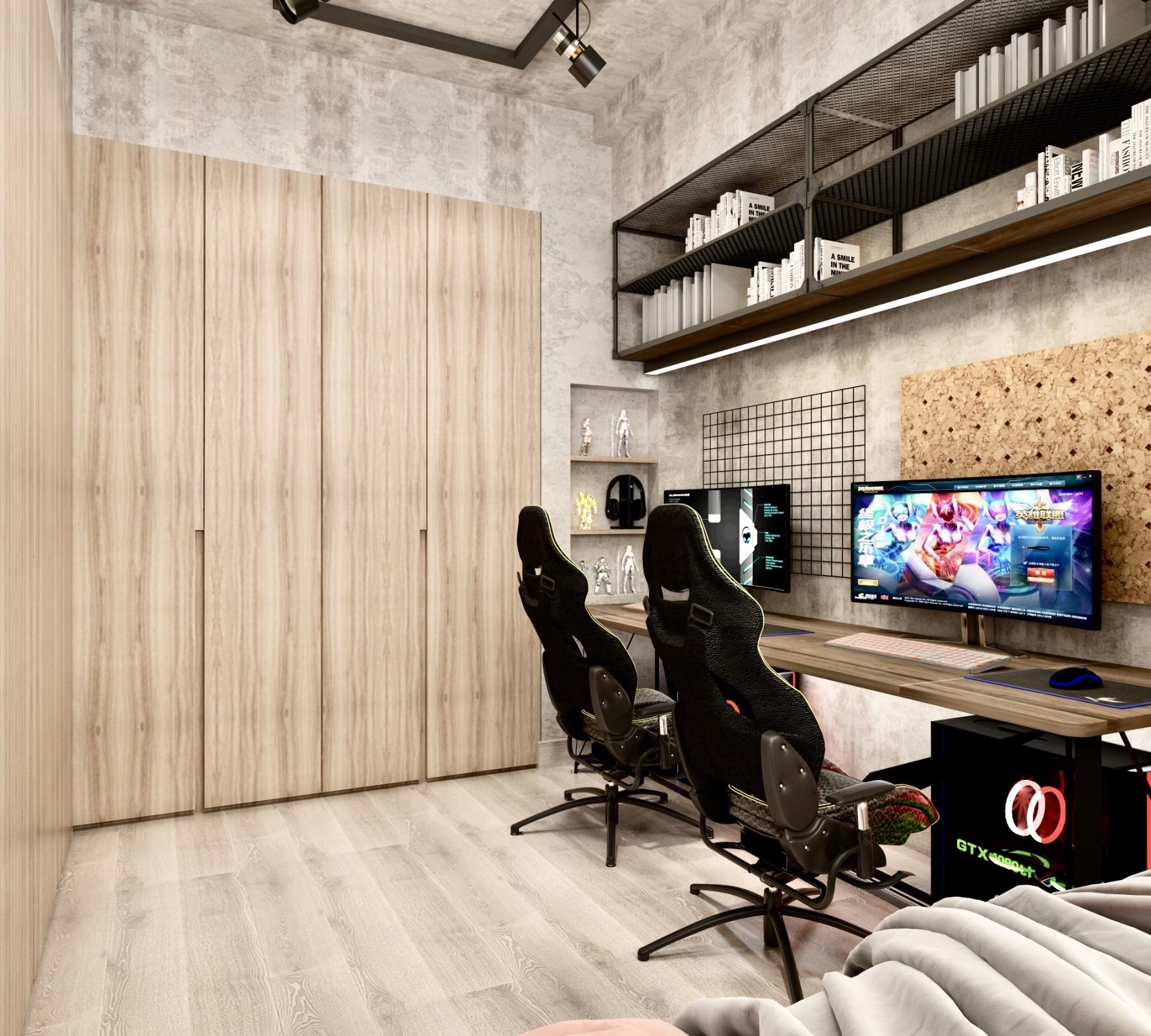 工业风格两居书房装修效果图