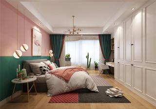 北欧混搭风三居卧室装修效果图