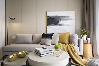 89m²现代三居沙发背景墙装修效果图