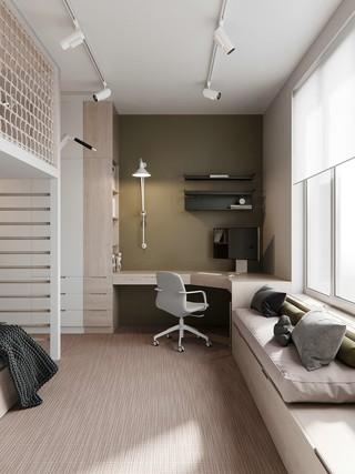 现代极简三居书房装修效果图