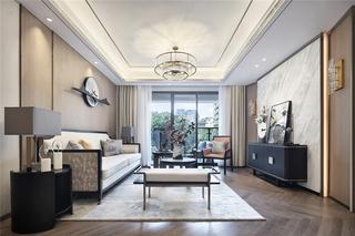 110m²新中式客厅装修效果图