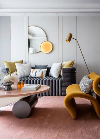 85㎡时尚轻奢装修沙发墙效果图