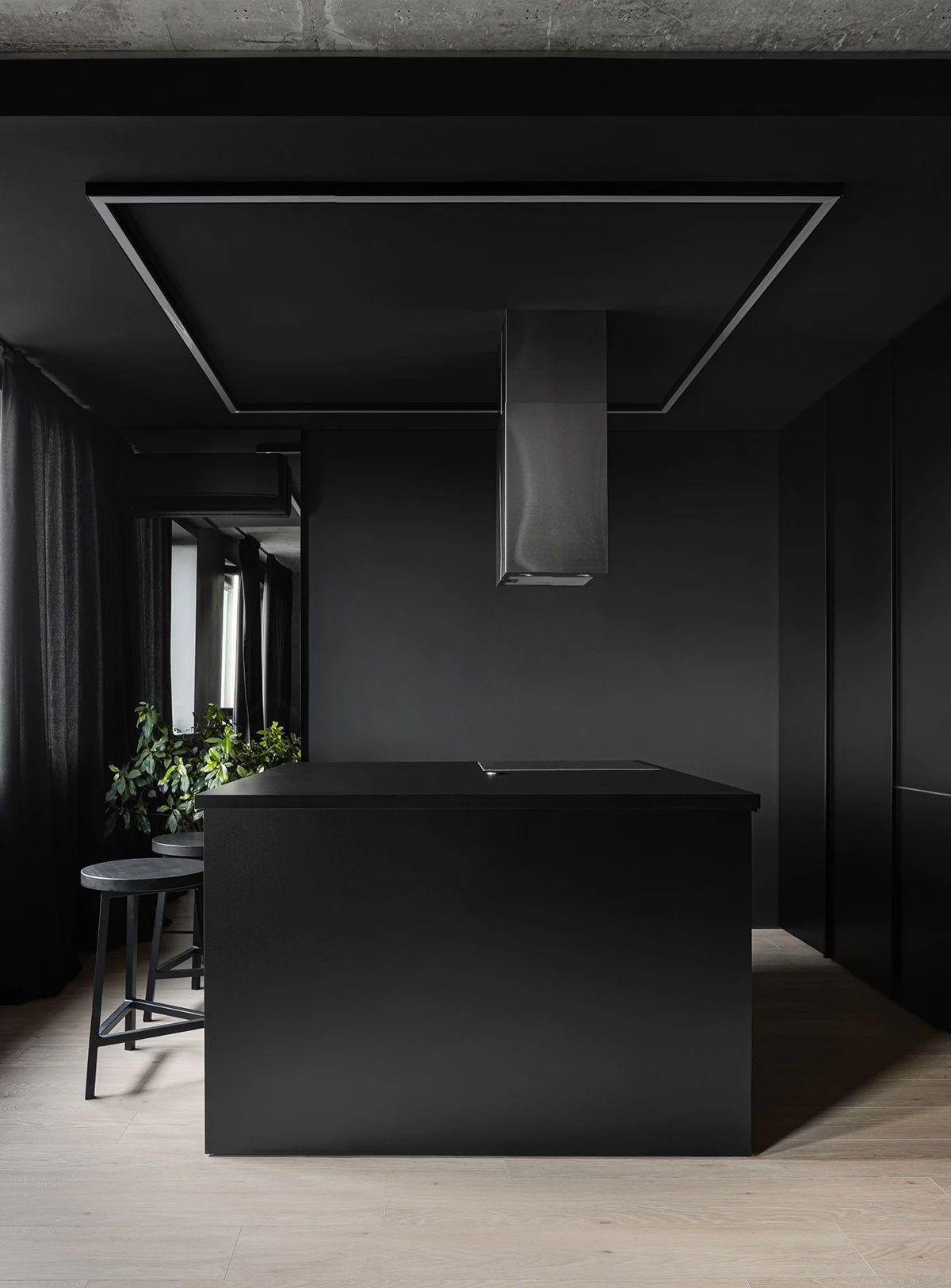 黑色系小户型厨房装修效果图